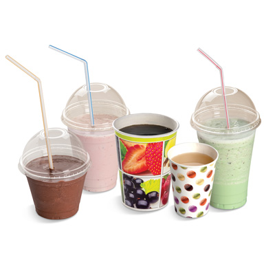 Clear plastic and colored paper cups with domed caps and straws